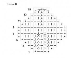Как связать украшение из роз, схема В.