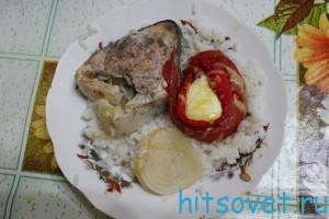 горбуша запеченная с рисом