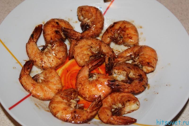 Жареные креветки в соевом соусе