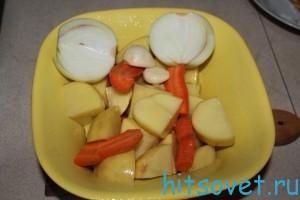 картофель, марковь и лук.
