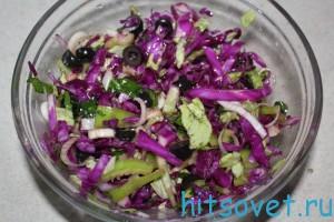Салат из краснокочанной капусты с маслинами
