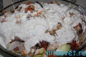 добавит соус в мясо с грибами