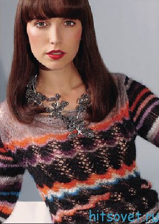 Ажурный пуловер в полоску