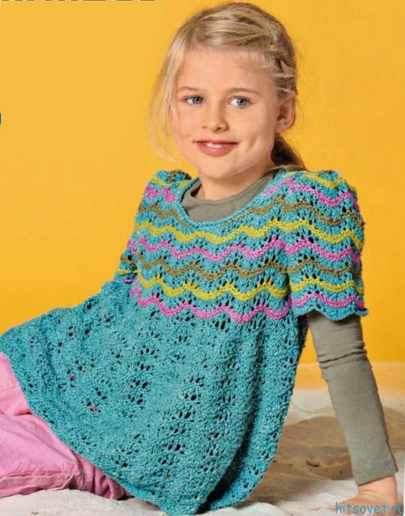 Ажурная туника для девочки с полосатым узором