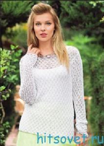 Белый пуловер с красивым узором спицами, фото 2.