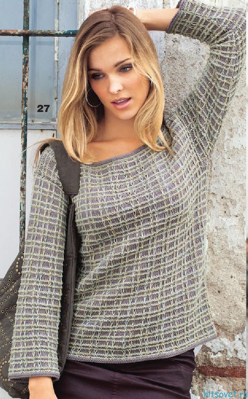 Клетчатый пуловер спицами