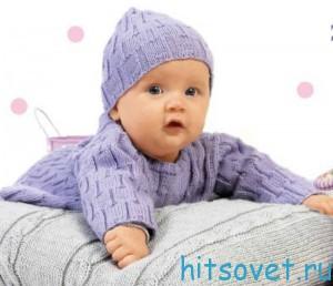 Вязание для малышей пуловера, жакета, штанишек и шапочки