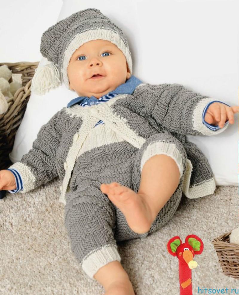 Вязание для малышей жакета штанишек и шапочки