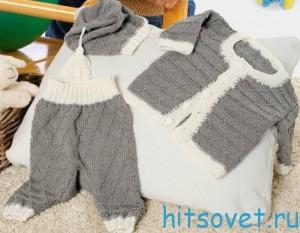 Вязание для малышей жакета штанишек и шапочки, фото 2.