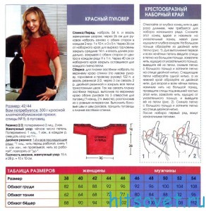 Красный пуловер спицами, описание.