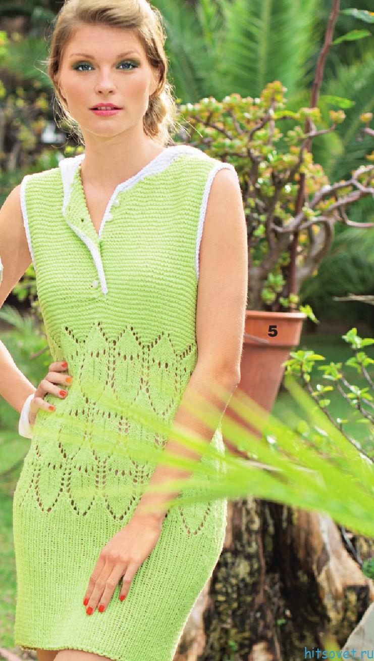 Вязание спицами платья с капюшоном