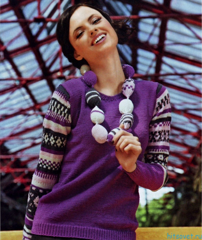 Пуловер спицами и бусы спицами