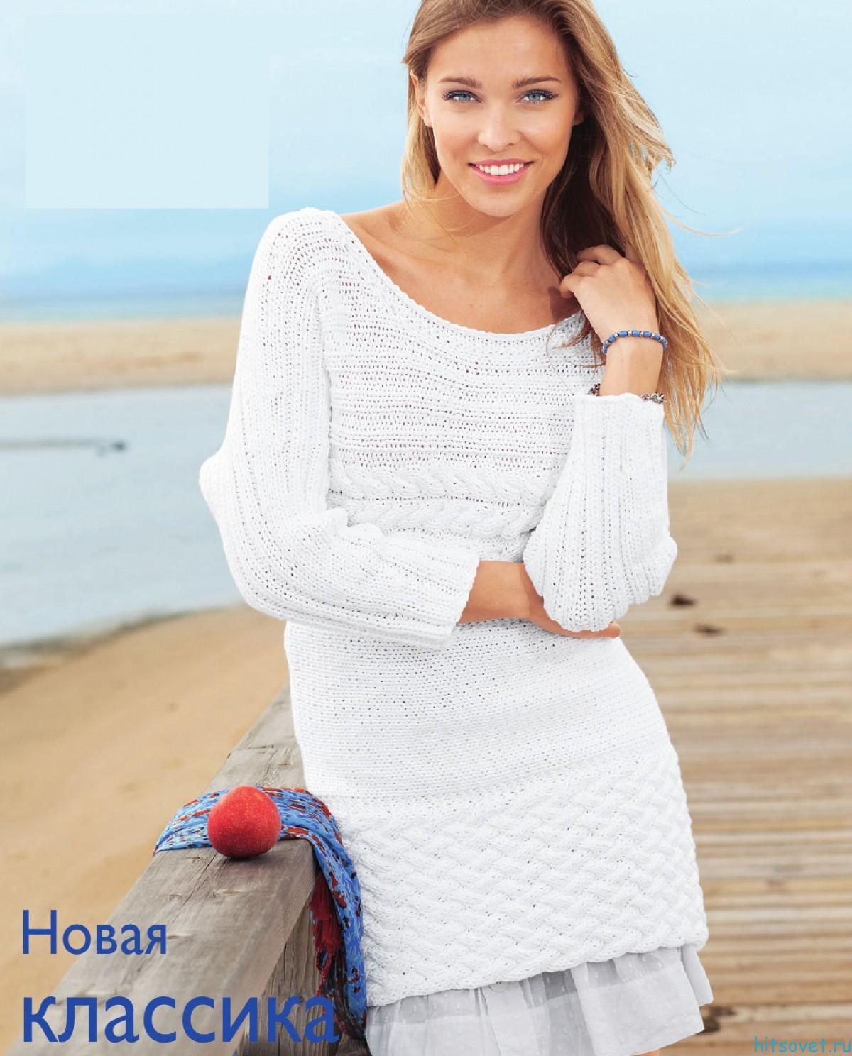 Пуловер спицами из ленточной пряжи