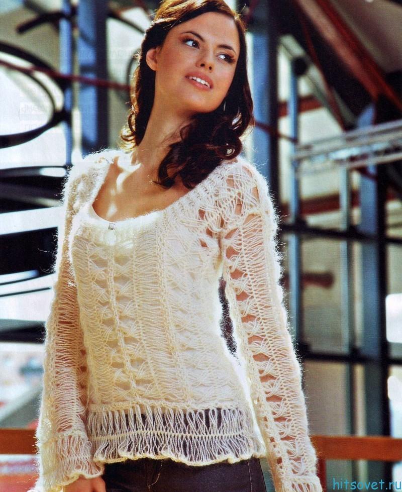 Пуловер спицами из мохера