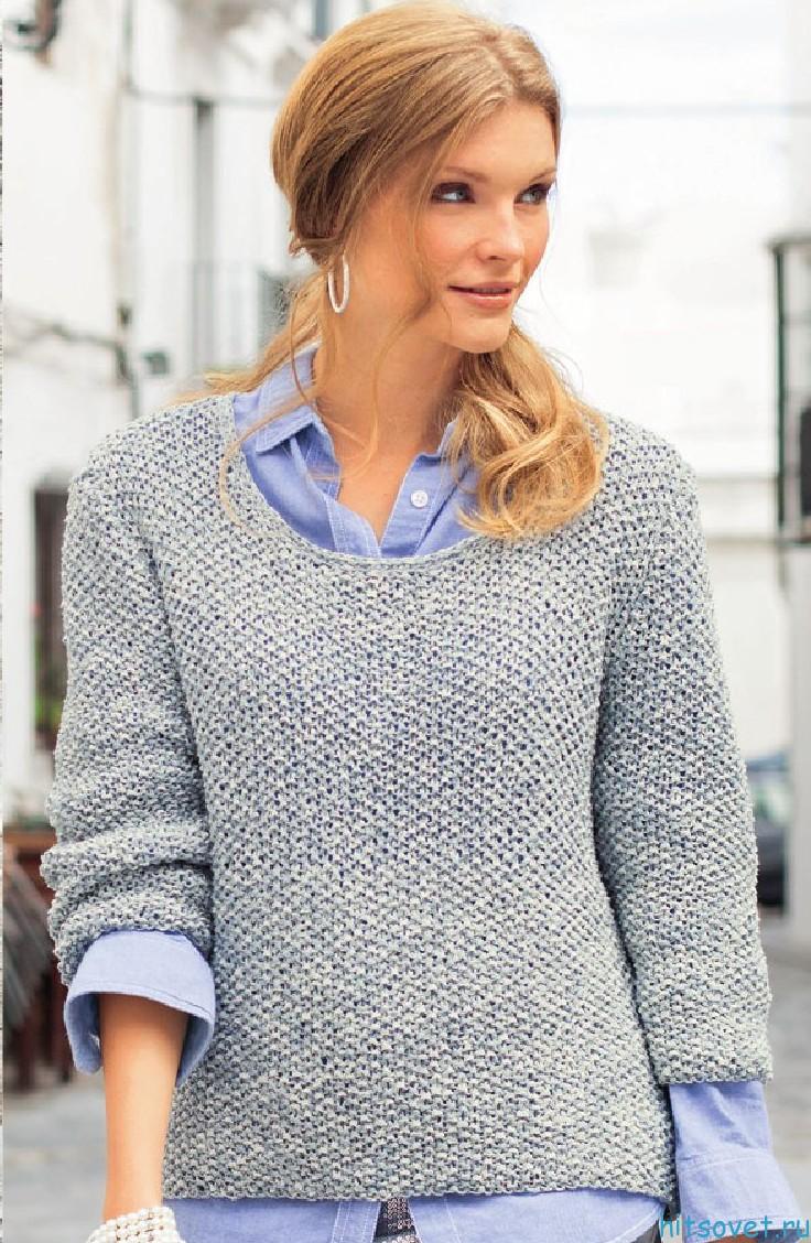 Меланжевый пуловер спицами схема