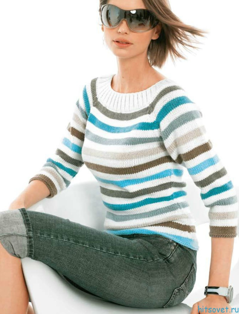 Пуловер реглан в полоску