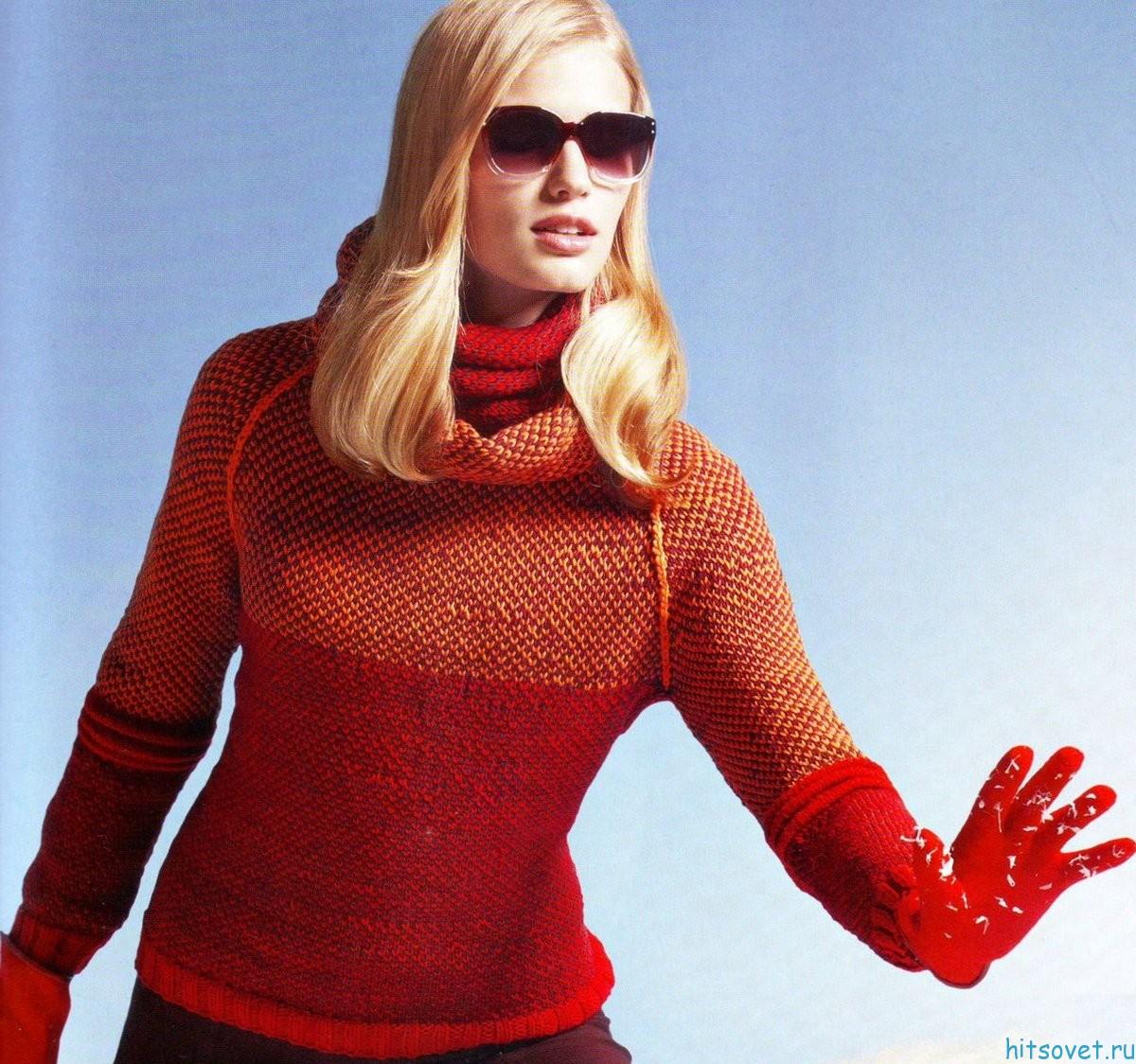 Пуловер реглан и воротник-хомут
