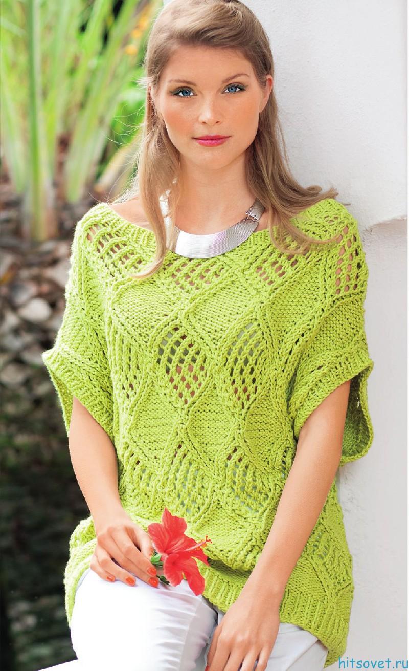 Пуловер спицами с ажурными ромбами