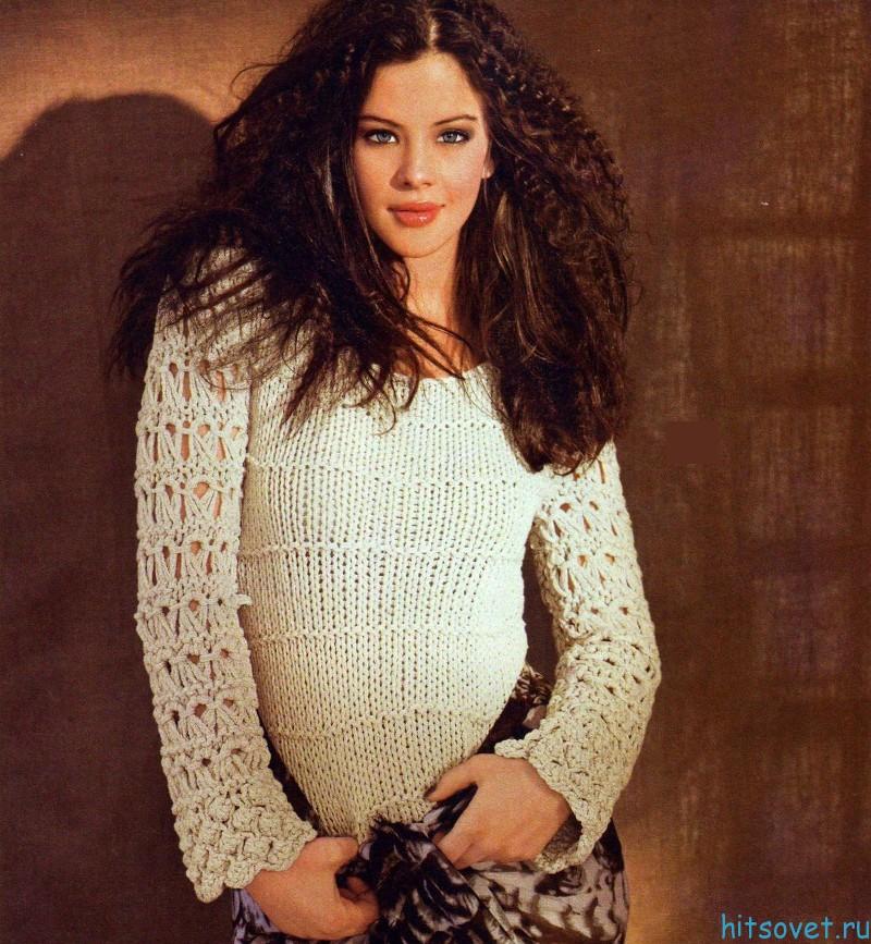 Вязание пуловера с ажурными рукавами