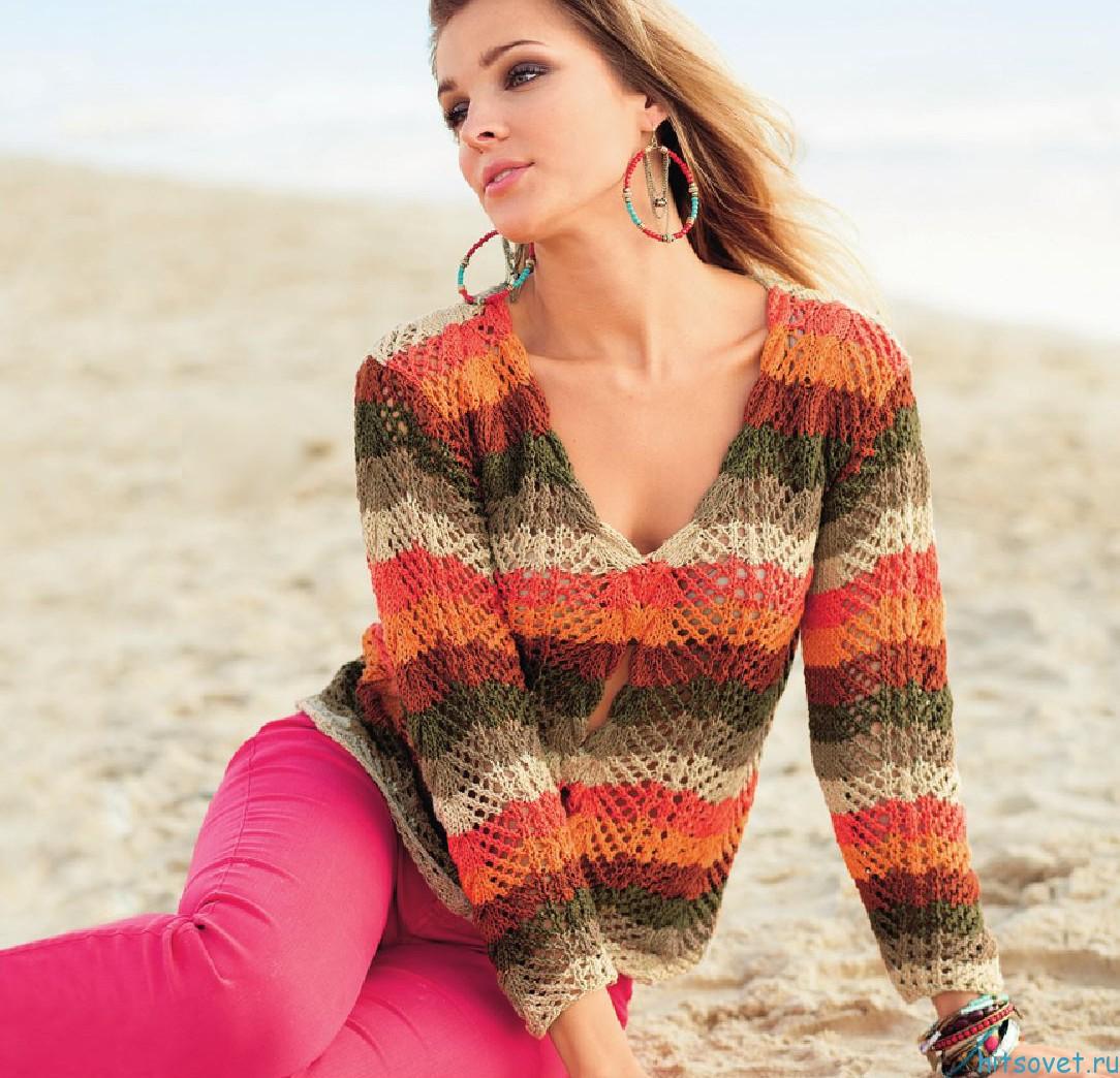 Вязание пуловера спицами с отверстиями