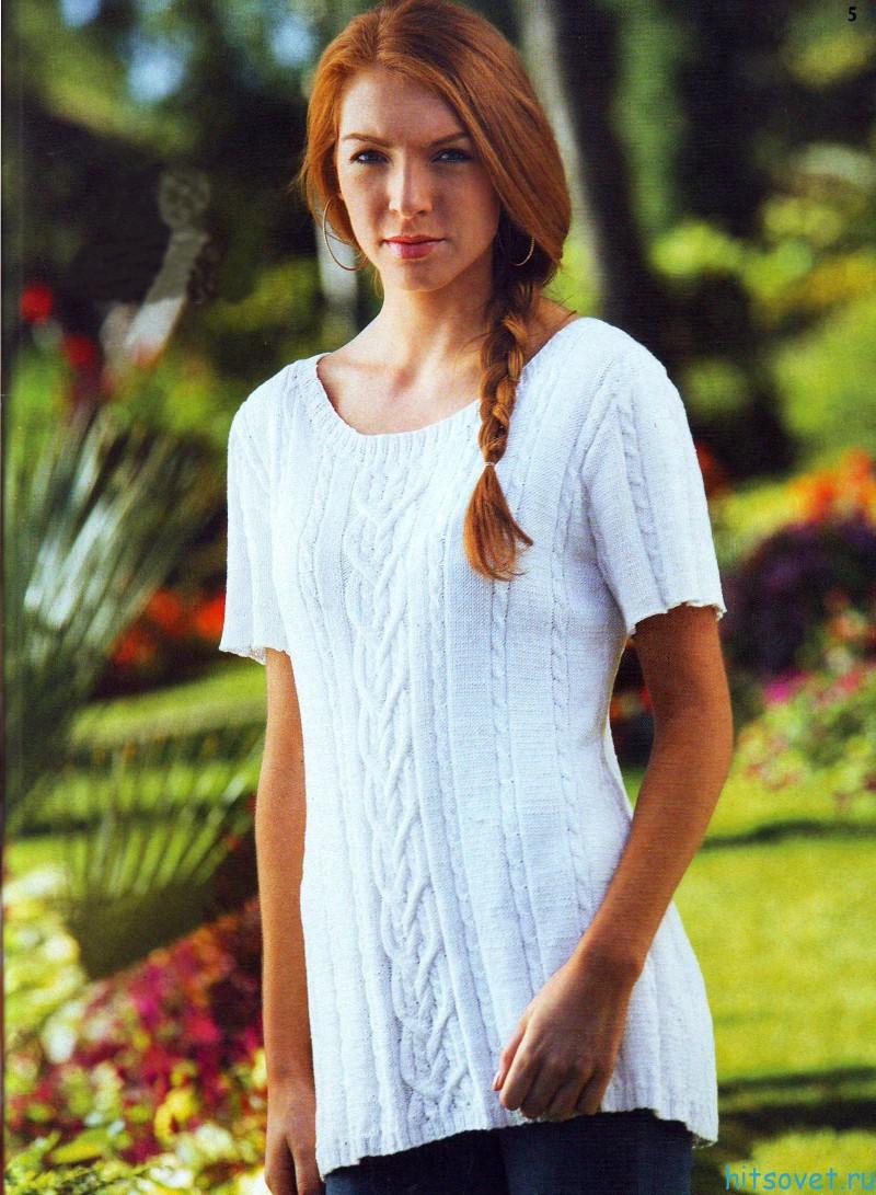 Вязание пуловера с короткими рукавами