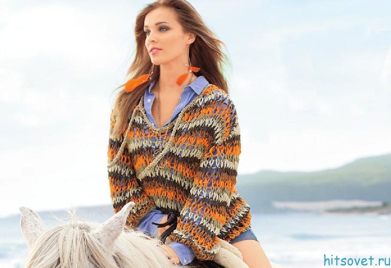 Вязание пуловер из ленточной пряжи