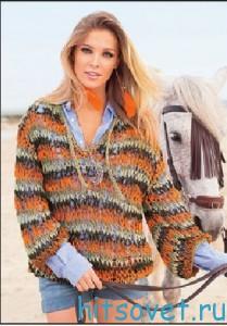 Вязание пуловер из ленточной пряжи, фото 2.