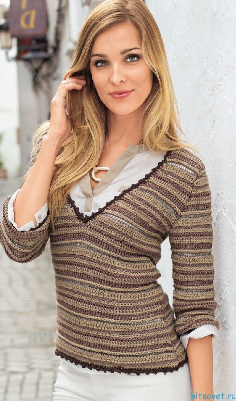 Пуловер крючком с V-образным вырезом