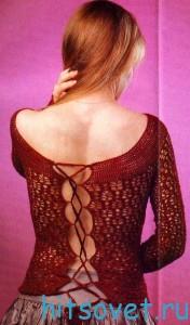 Пуловер крючком со шнуровкой на спинке, фото 2.