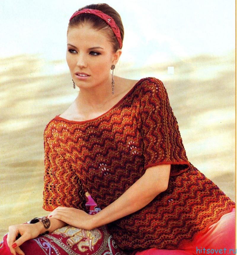 Вязание пуловера с волнистым узором