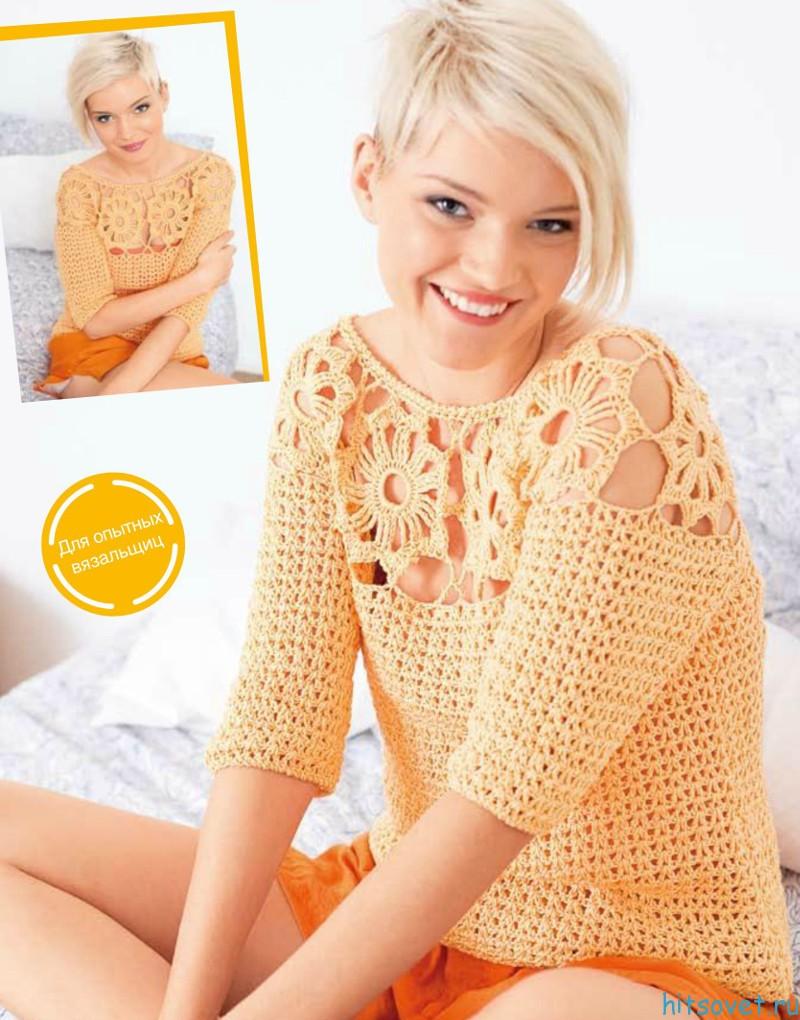 Пуловер крючком Время цветов