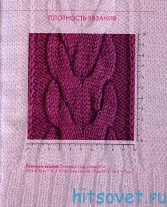 Розовый жакет спицами, плотность вязания.