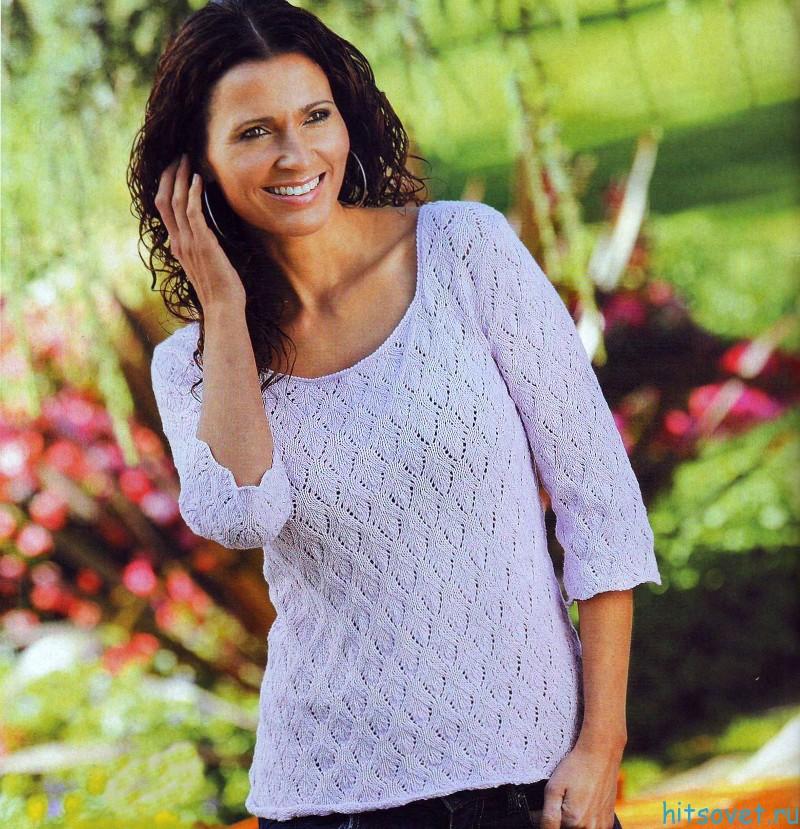 Женский пуловер спицами большой размер