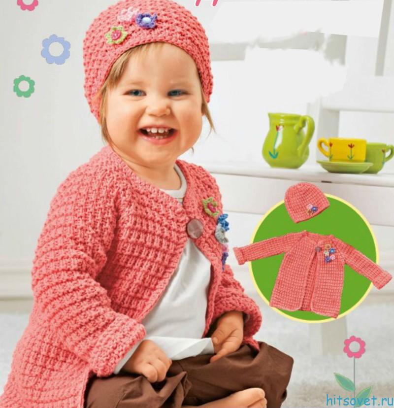 Вязание для девочек жакет и шапочка