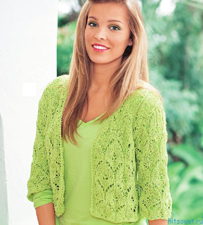 Жакет спицами зеленого цвета