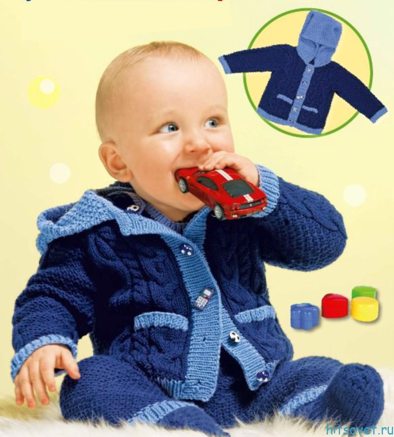 Детский жакет с капюшоном и контрастной отделкой