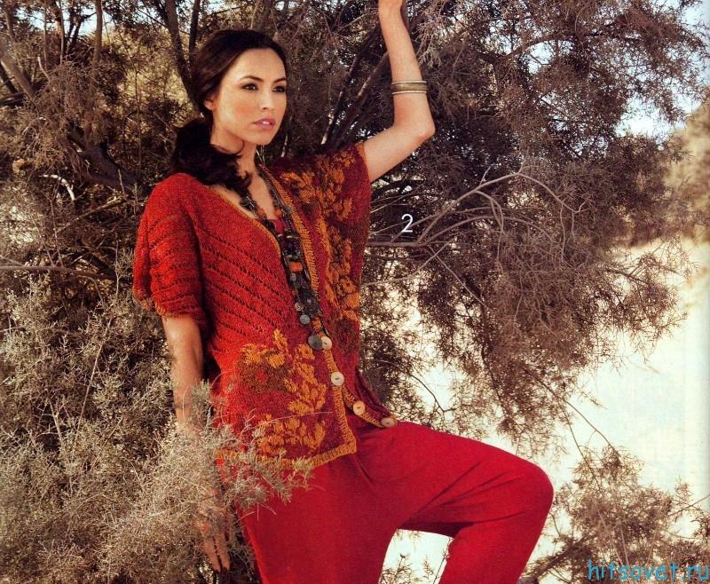 Жакет спицами с рукавами кимоно