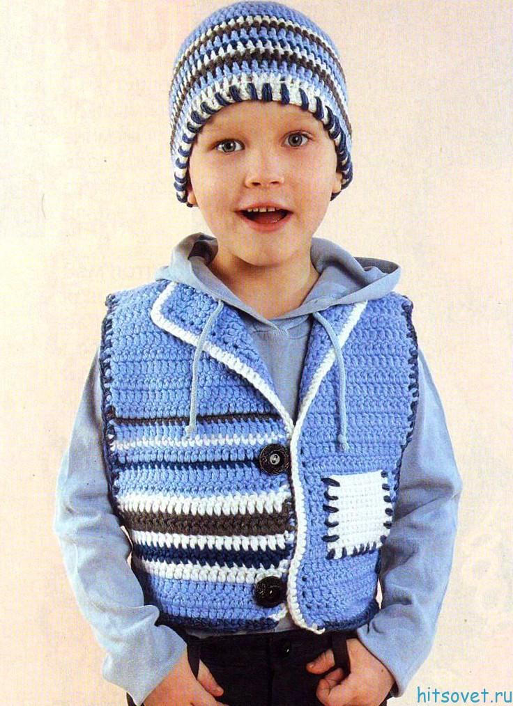 Детский жилет и шапочка крючком