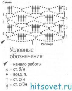 Палантин крючком. схема.
