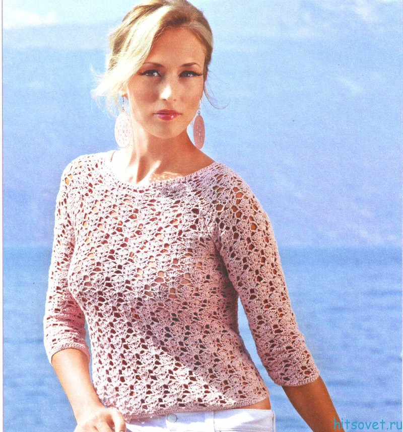 Розовый пуловер крючком схема