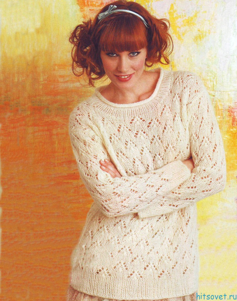 Белый ажурный пуловер спицами