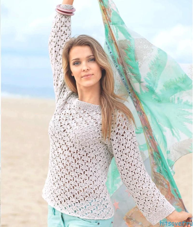 весенний пуловер спицами для женщин схемы и описание