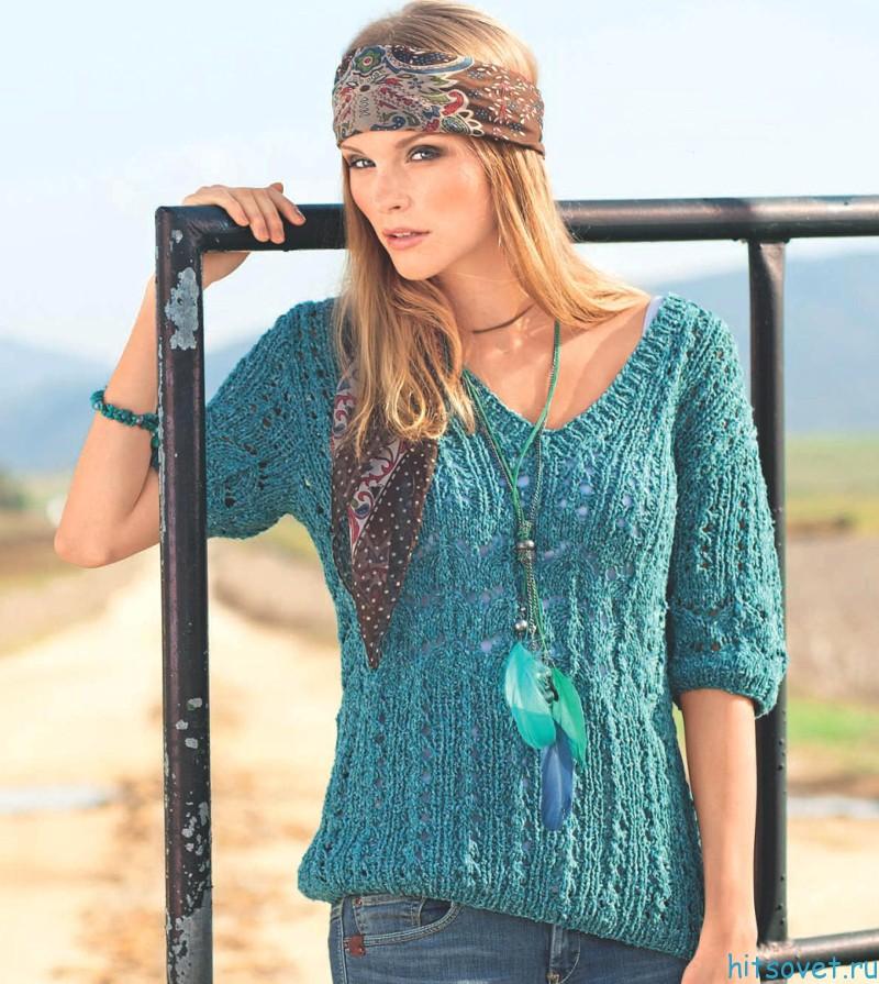 Бирюзовый пуловер спицами