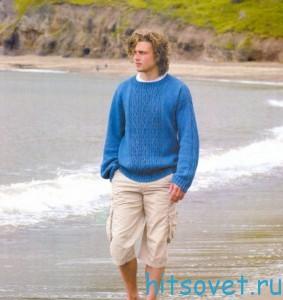 Джемпер спицами Голубая лагуна, фото 2.