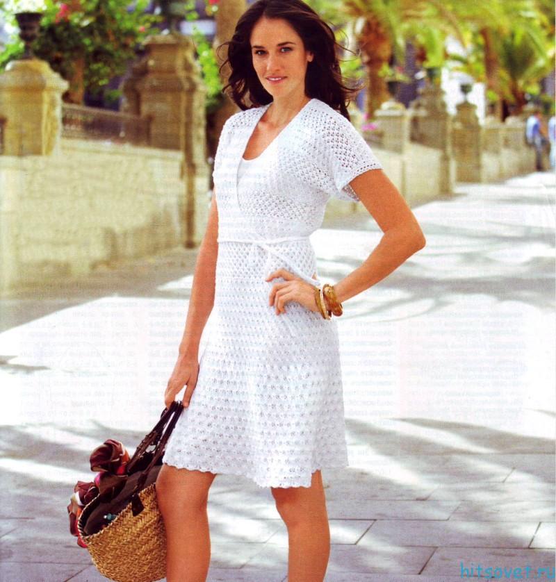 Кружевное платье спицами