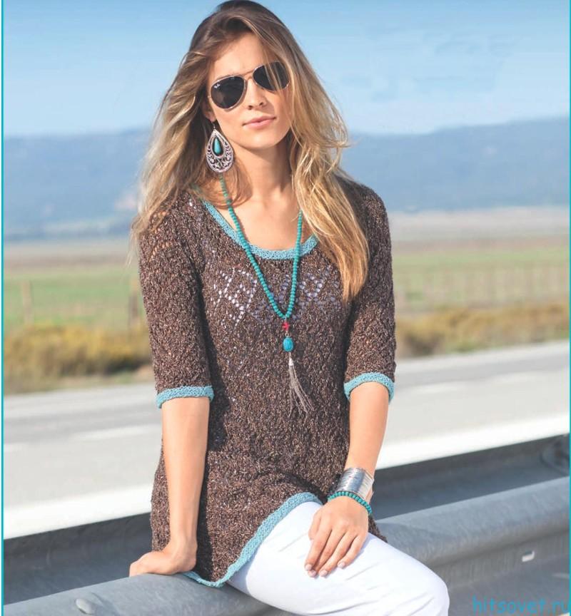 Меланжевый пуловер с ажурным узором