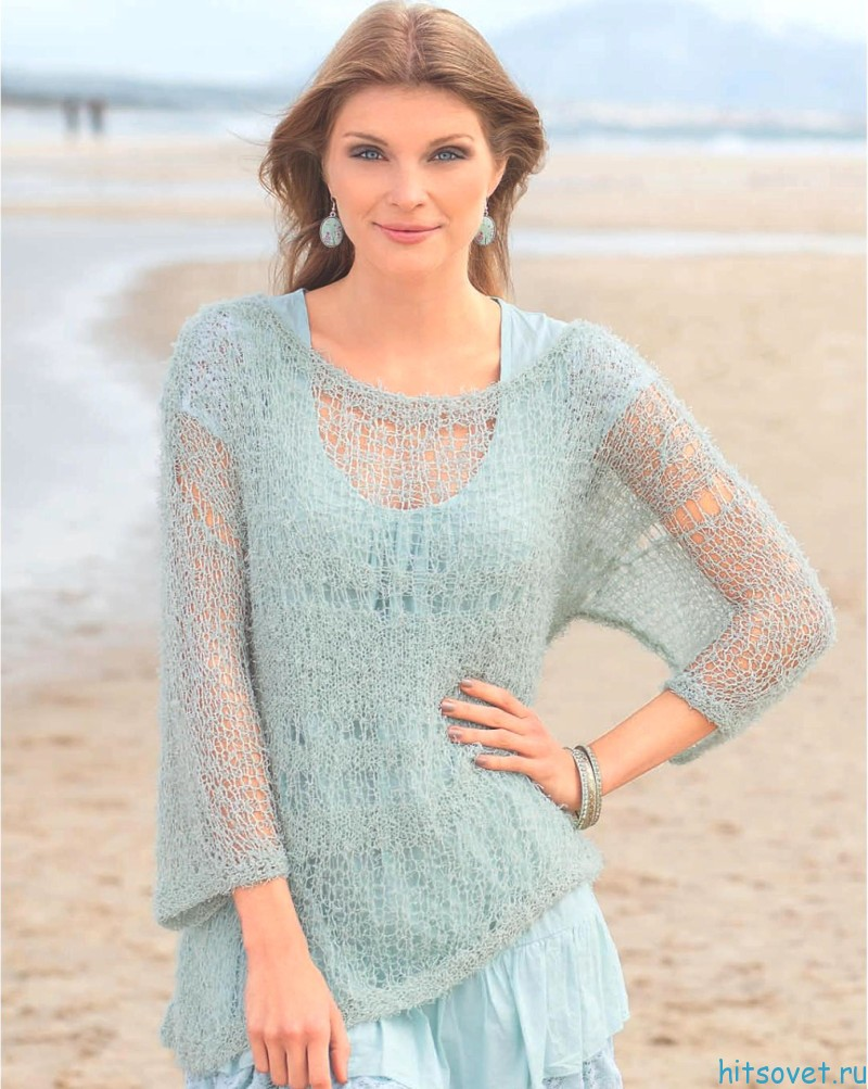 Легкий летний пуловер спицами