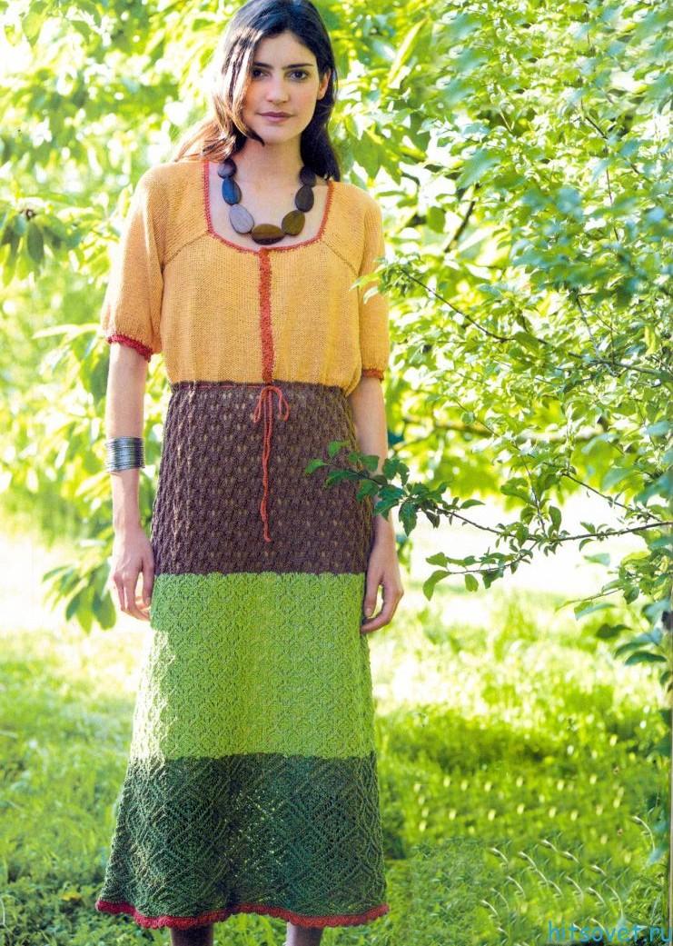 Платье спицами весна