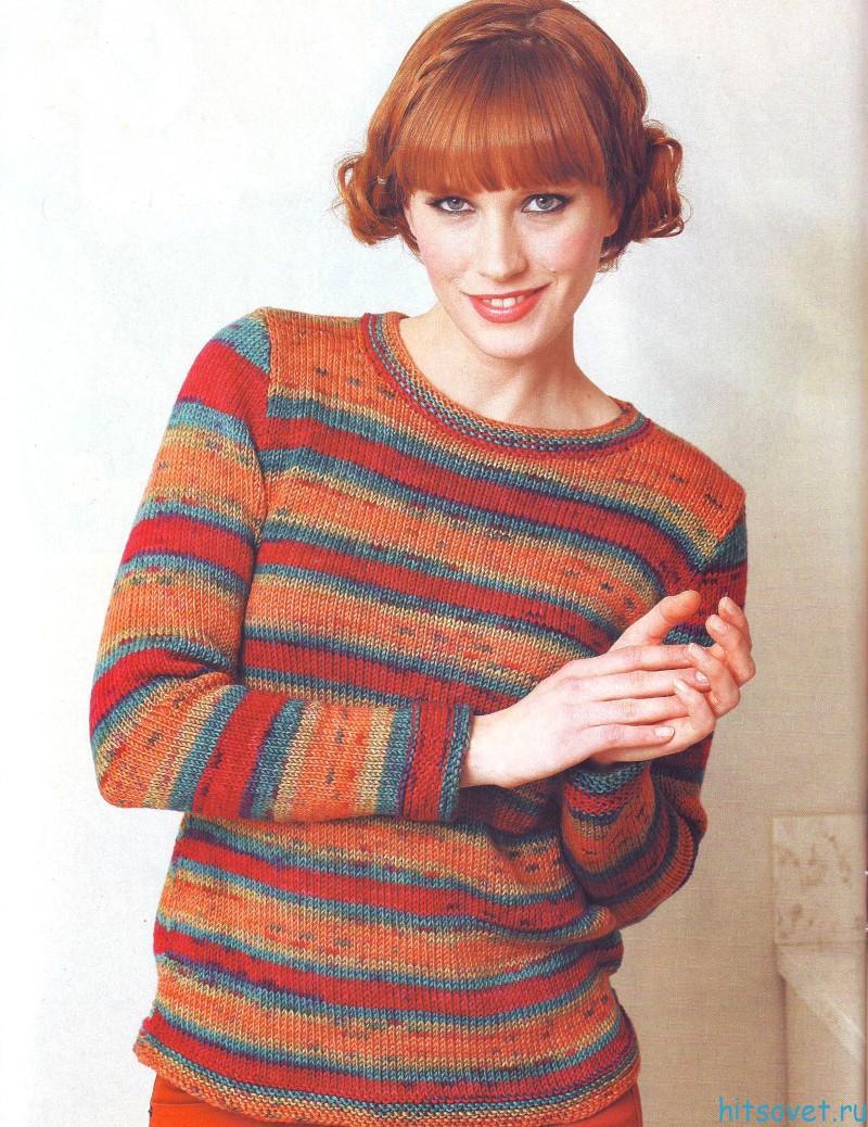 Женский полосатый пуловер спицами