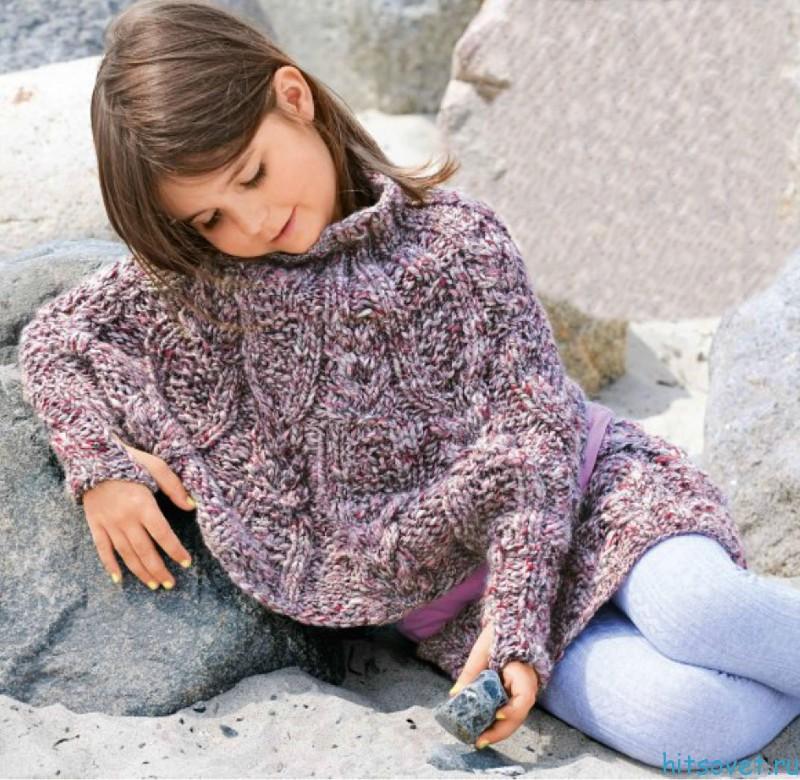 Детское пончо и юбка спицами